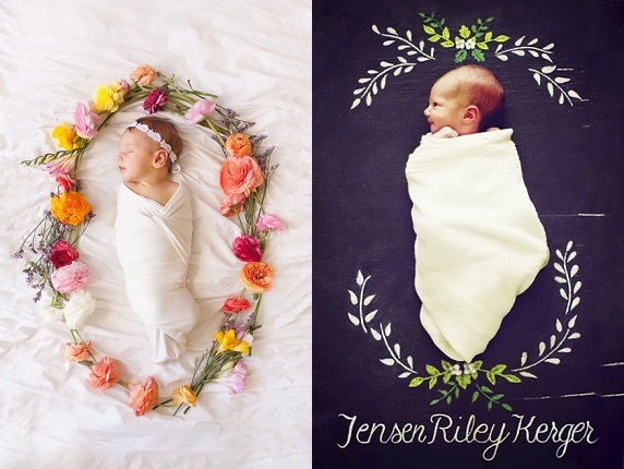 Birth announcement - babies inside a ring of flowers.