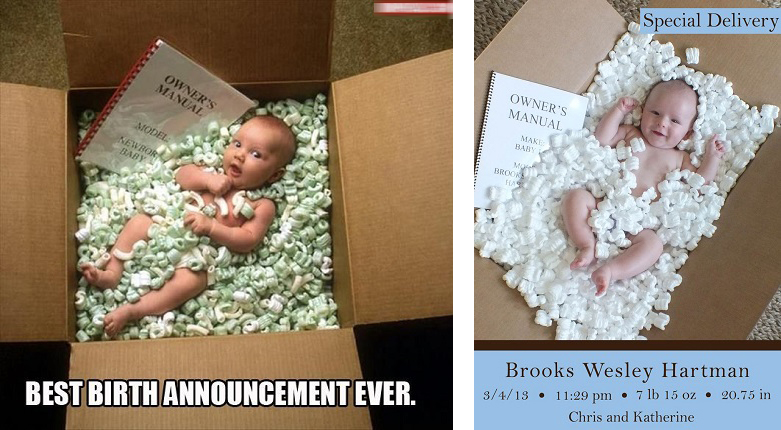 Birth announcement - babies lying like parcels in boxes with Owner's Manuals..