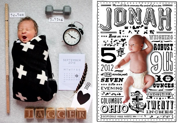 Birth announcement - babies Jagger and Jonah are shown alongside their measurements, weight, time, date and  place of birth.