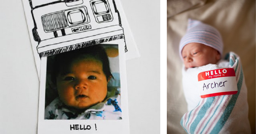 Birth announcements - polaroid image and 'Hello My Name Is' sticker