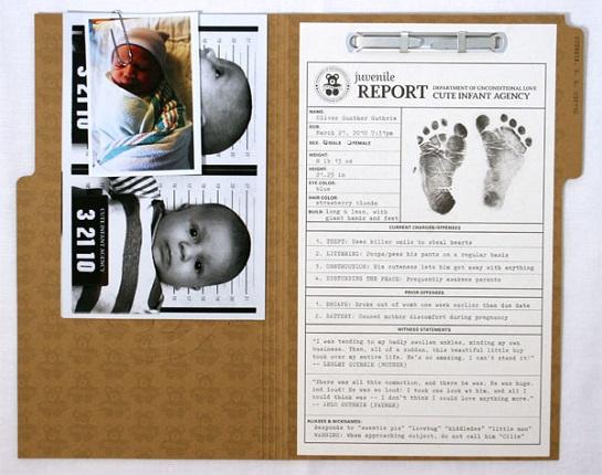 Birth announcement - mugshot/ police file