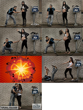 Birth announcement - husband pumps up his wife's belly with air pump, until she explodes and a baby appears.