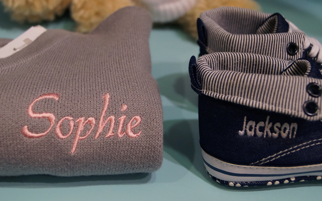 My 1st Years Personalised Cardigan and Denim High Top Trainers in Selfridges London