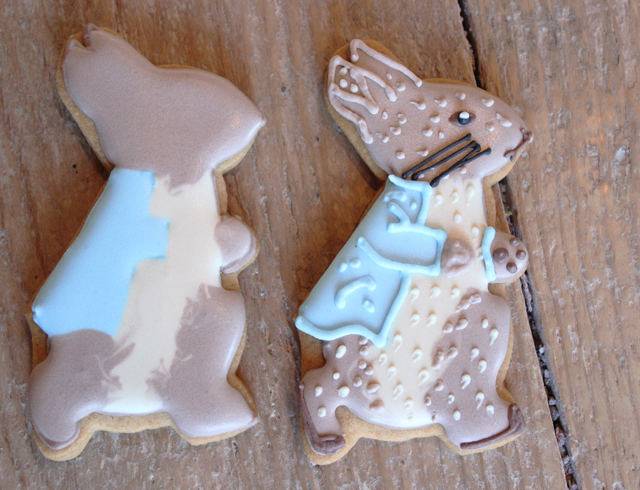Iced Peter Rabbit biscuits by Biscuiteers