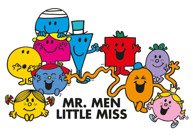 "ten of the mr men characters. With text ""Mr.Men Little Miss """