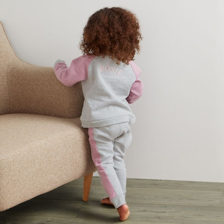 Personalised Grey and Pink Jersey Tracksuit
