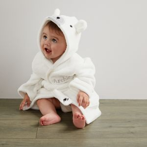 Personalised Polar Bear Fleece Robe - Model