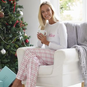 Personalised Pink Checked Adult Pyjamas