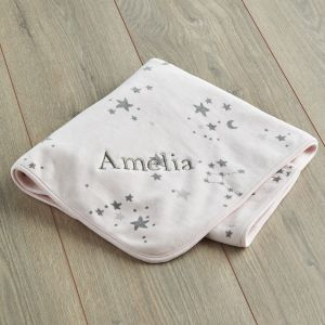 Personalised Pink Star Print Velour Blanket