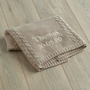 Personalised Taupe Cable Knit Blanket