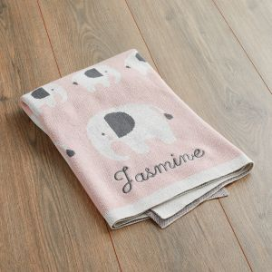 Personalised Pink Elephant Knitted Intarsia Blanket Main