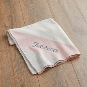 Personalised Pink Striped Blanket