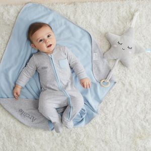 Personalised Grey Marl Sleepsuit