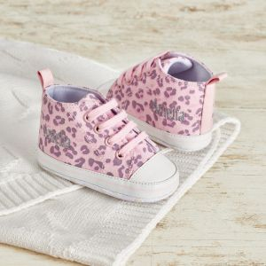 Personalised Pink Leopard Print Baby Trainers