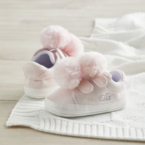 Personalised Pink Pom Pom Detail Baby Trainers