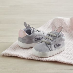 Personalised Grey Bunny Ear Detail Baby Trainers