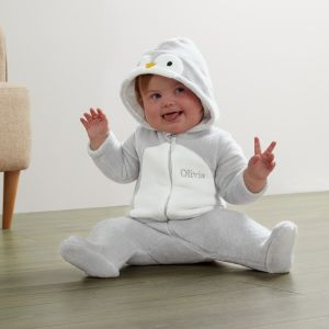 Personalised Penguin Fleece Onesie - Model