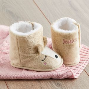 Personalised Beige Baby Deer Booties