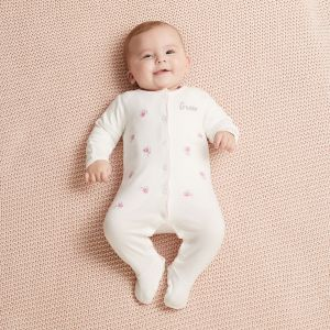 Personalised Embroidered Floral Organic Sleepsuit