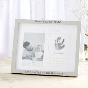 Personalised Double Photo '1st Father's Day' Photo Frame