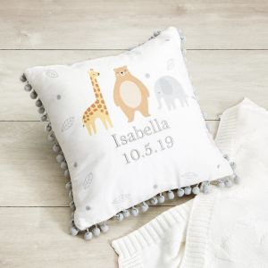 Personalised Animal Friends Pom Pom Cushion