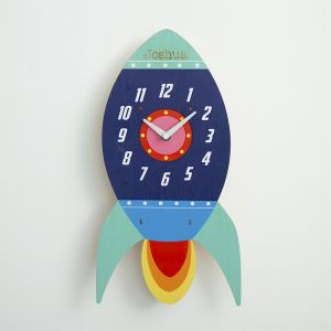 Personalised Children's Rocket Wall Clock