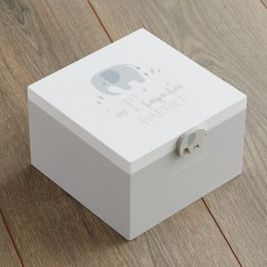 Personalised Elephant 'My 1st Keepsakes' Box Side