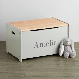 Personalised Grey Toy Chest