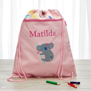 Personalised Koala & Friends Print Drawstring Bag
