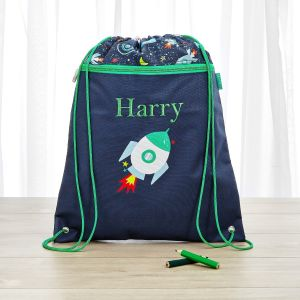 Personalised Space Print Drawstring Bag