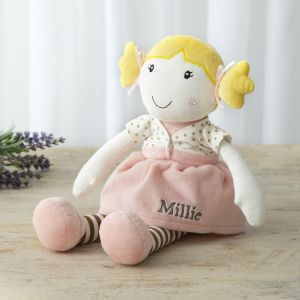 Personalised Rag Doll in Pink Dress