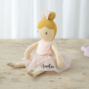 Personalised Ballerina Doll in Pale Pink Dress