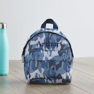Personalised Blue Camouflage Print Mini Backpack