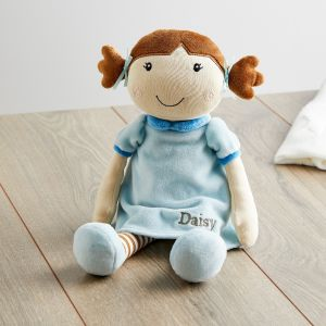 Personalised Rag Doll in Blue Dress