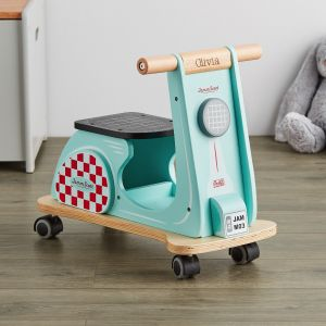 Personalised Wooden Aqua Blue Ride On Scooter
