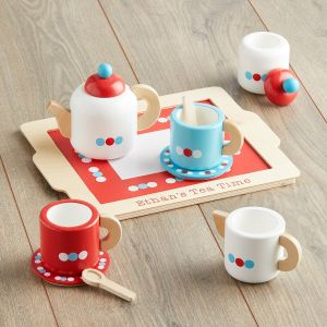 Personalised Blue & Red Wooden Toy Tea Set