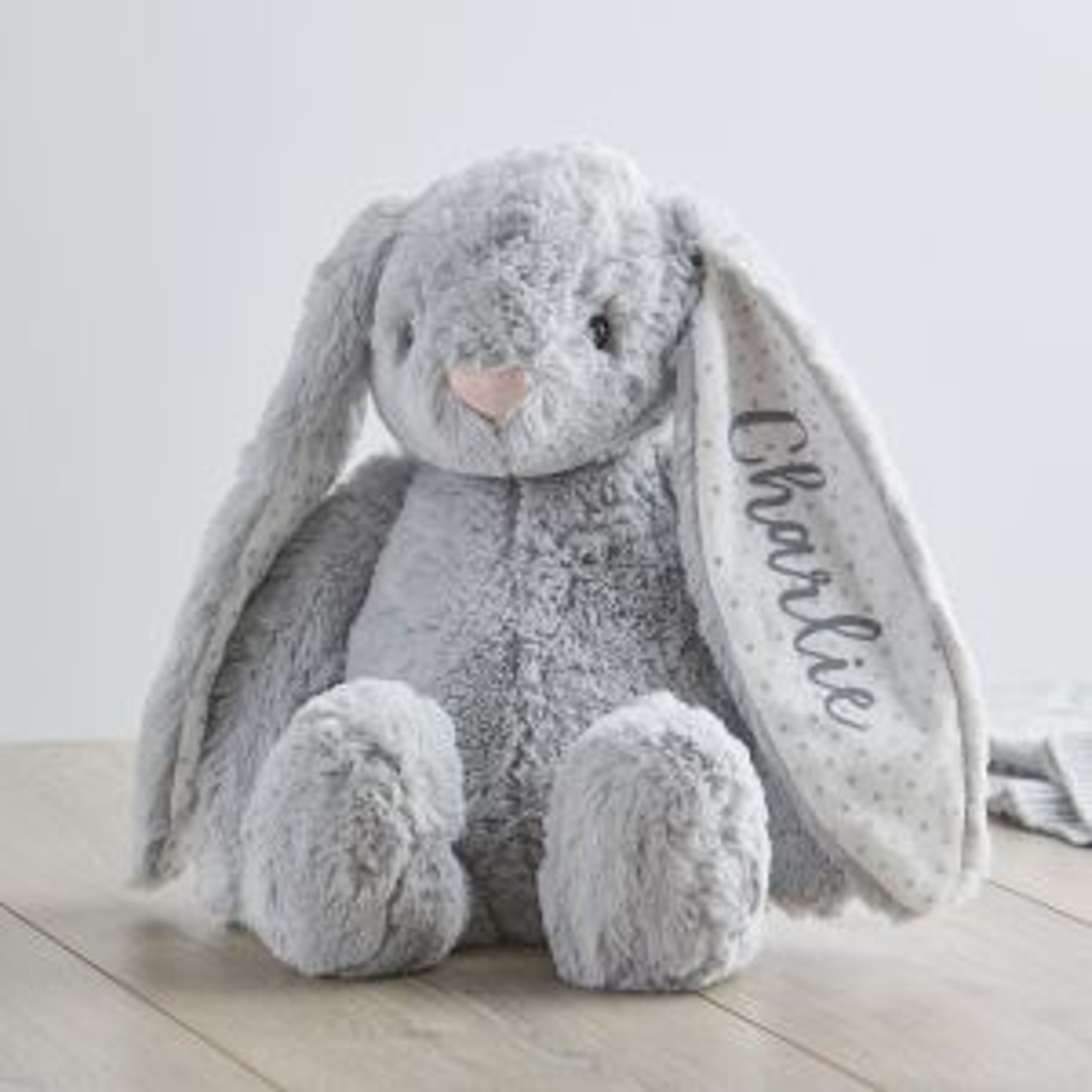 Personalised Medium Grey Bunny Soft Toy