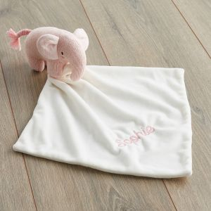 Personalised Pink Knitted Elephant Comforter