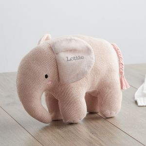 Personalised Pink Knitted Elephant Soft Toy Main