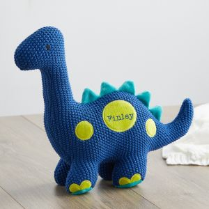 Personalised Blue Knitted Dinosaur Soft Toy