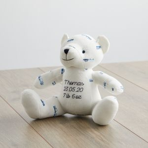 Personalised Transport Print Organic Bear Soft Toy