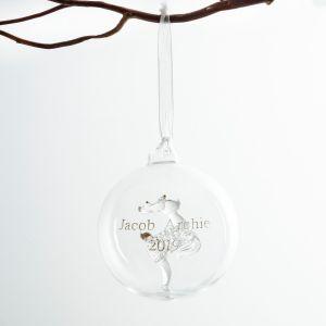 Personalised Reindeer Glass Bauble