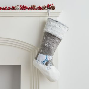 Personalised Small Polar Bear Stocking With Fur Cuff