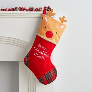 Personalised Medium Fleece Reindeer Stocking