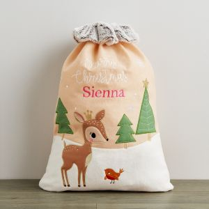 Personalised Fawn Sack With Fur Cuff