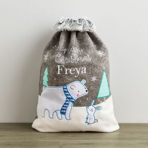 Personalised Polar Bear Sack With Fur Cuff