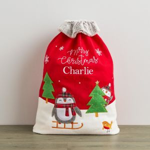 Personalised Penguin Sack With Fur Cuff