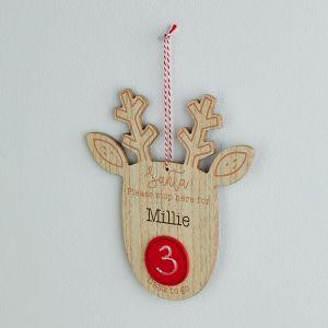 Personalised Countdown to Christmas Reindeer Sign