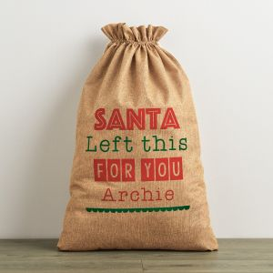 Personalised Santa Left This Hessian Christmas Sack