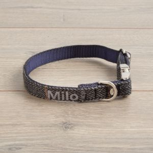 Personalised Tweed Dog Collar - Dark Grey
